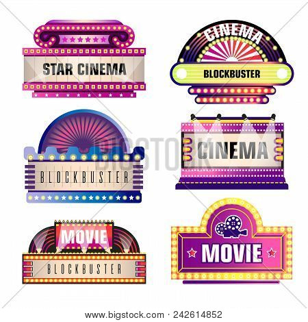 Movie And Cinema Retro Signboards With Genres In Light Bulbs. Vector Isolated Set Of Cinema Or Theat