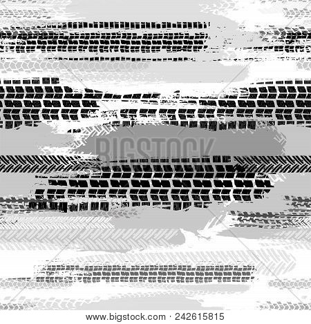 Motorcycle And Motor Tire Tracks Seamless Pattern. Grunge Automotive Addon Useful For Poster, Print,