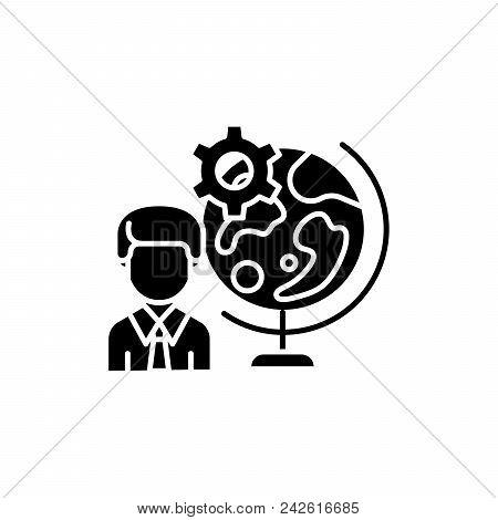 Global Perspective Black Icon Concept. Global Perspective Flat  Vector Website Sign, Symbol, Illustr
