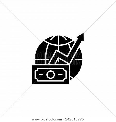 Global Revenues Growth Black Icon Concept. Global Revenues Growth Flat  Vector Website Sign, Symbol,