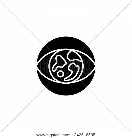 Global Vision Black Icon Concept. Global Vision Flat  Vector Website Sign, Symbol, Illustration.