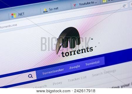 Ryazan, Russia - May 27, 2018: Homepage Of Torrents Website On The Display Of Pc, Url - Torrents.me