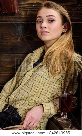 Girl Student Relaxing With Glass Of Mulled Wine, Close Up. Lady On Dreamy Face In Plaid Clothes Look