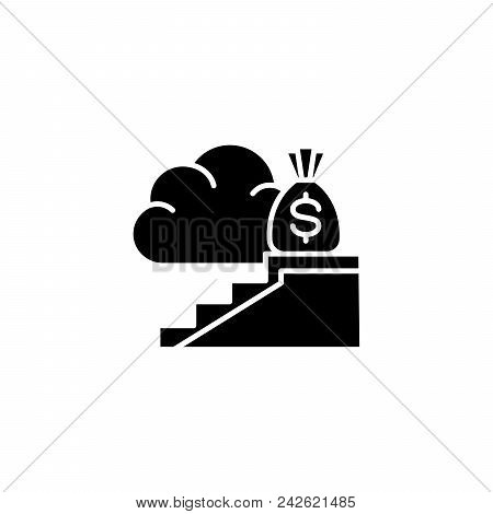 High Revenue Black Icon Concept. High Revenue Flat  Vector Website Sign, Symbol, Illustration.