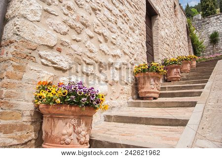 Uphill Steps With Ceramic Pots And Violets Flowers Along A Path In A Street Of Gubbio City
