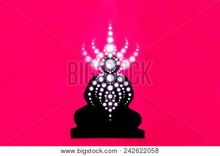 Silhouette Image Of A Meditator In Trance, Light Geometric Patterns Of Prana, A Person In Nirvana, A