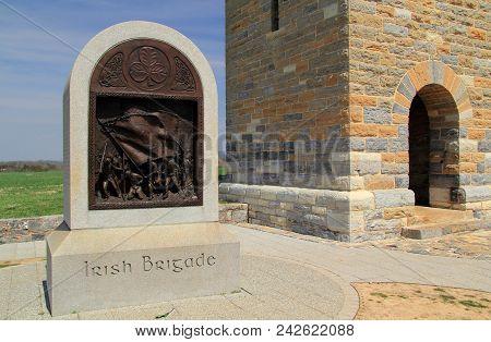 Sharpsburg, Md - April 14: The Irish Brigade Monument, At The End Of Bloody Lane, Honors Irish Volun