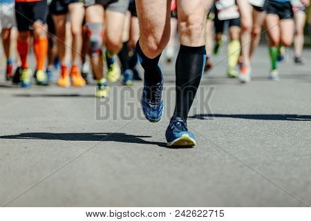 Leader Runner Athlete Run Ahead Group Of Runners