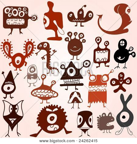 Many cute doodle monsters set