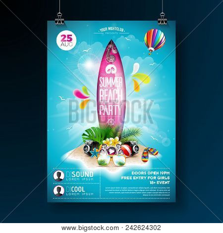 Vector Summer Beach Party Flyer Design With Typographic Elements On Surf Board. Summer Nature Floral
