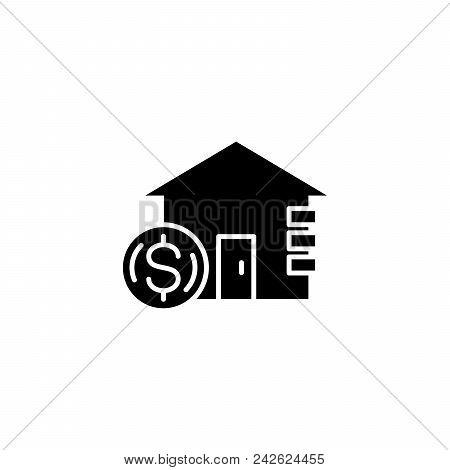Income From Real Estate Black Icon Concept. Income From Real Estate Flat  Vector Website Sign, Symbo