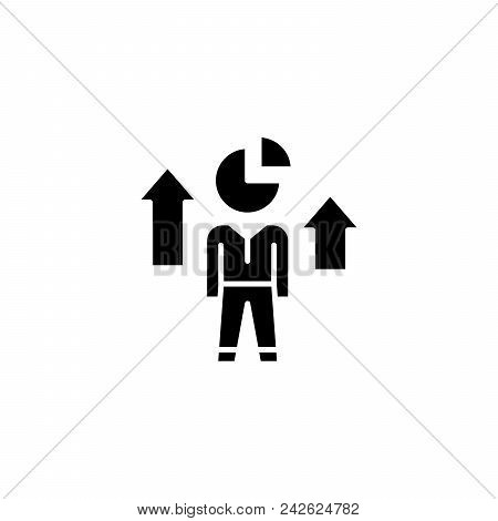 Increase Of Share Black Icon Concept. Increase Of Share Flat  Vector Website Sign, Symbol, Illustrat