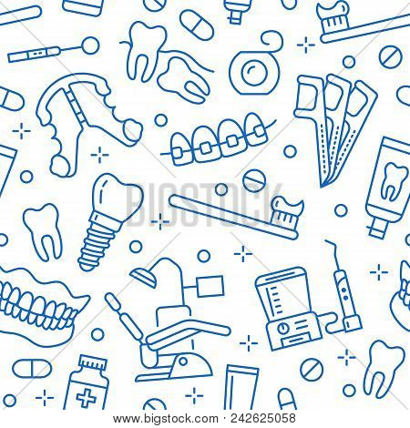 Dentist, Orthodontics Seamless Pattern With Line Icons. Dental Care, Medical Equipment, Braces, Toot