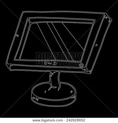 Flat Computer Monitor. Lcd Monitor. Vector Illustration Of A Flat Monitor. Hand Drawn Flat Computer