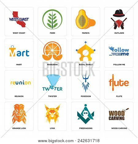 Set Of 16 Simple Editable Icons Such As Wood Carving, Freemasons, Lynx, Orange Lion, Flute, West Coa