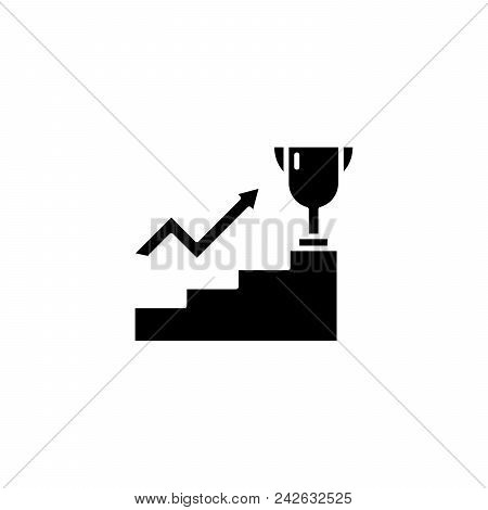 Leadership ambitions black icon concept. Leadership ambitions flat  vector website sign, symbol, illustration. poster