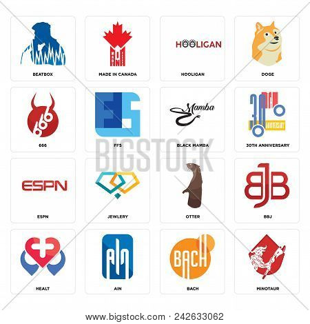 Set Of 16 Simple Editable Icons Such As Minotaur, Bach, Ain, Healt, Bbj, Beatbox, 666, Espn, Black M