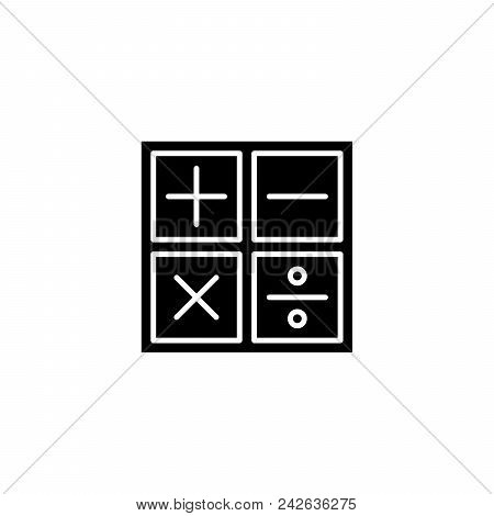 Maths Black Icon Concept. Maths Flat  Vector Website Sign, Symbol, Illustration.