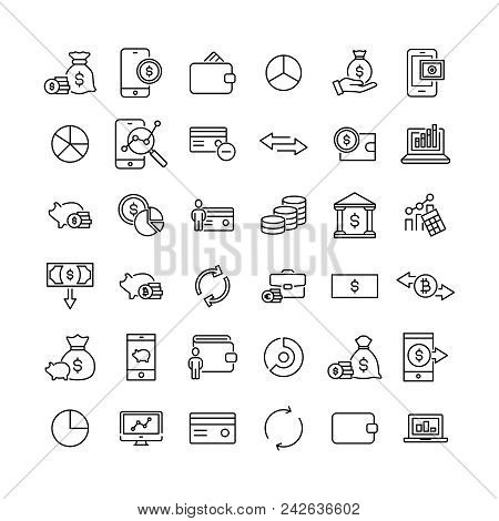 Modern Outline Style Money Icons Collection. Premium Quality Symbols And Sign Web Logo Collection. P
