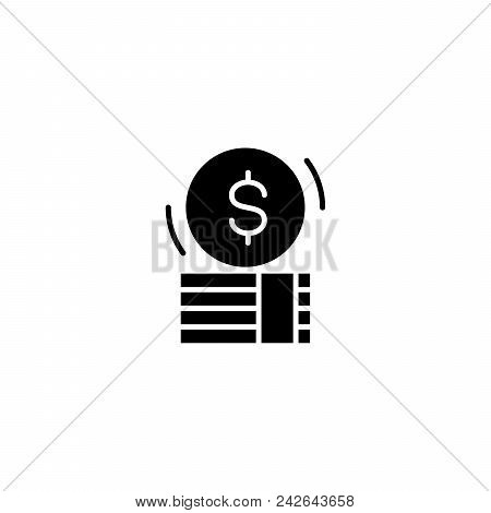 Money Cash Black Icon Concept. Money Cash Flat  Vector Website Sign, Symbol, Illustration.