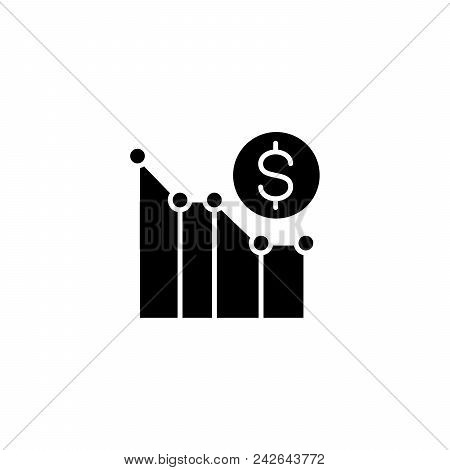 Money Loss Black Icon Concept. Money Loss Flat  Vector Website Sign, Symbol, Illustration.