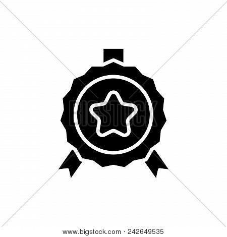 Official Award Black Icon Concept. Official Award Flat  Vector Website Sign, Symbol, Illustration.