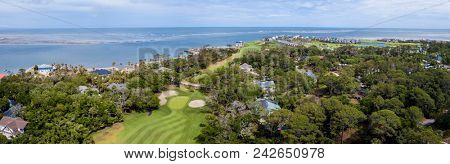 180 degree panorama of waterfront and golf properties on Fripp Island, South Carolina