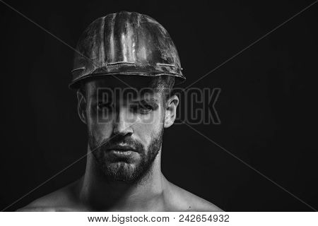Builder Working With Construction Helmet. Architect, Worker, Engineer - Work. Business, Building, In