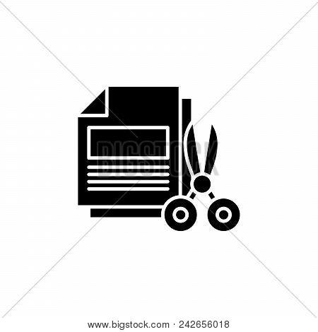 Paper Shredding Black Icon Concept. Paper Shredding Flat  Vector Website Sign, Symbol, Illustration.