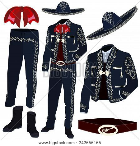 Mariachi Musician Costume Parts And Mariachi Sombrero. Mexican And Central American Traditional Char