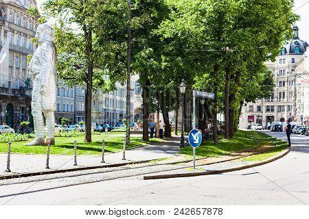 Munich, Germany - May 23, 2018: People And Aluminium Sculpture Of Maximilian Joseph Graf Von Montgel