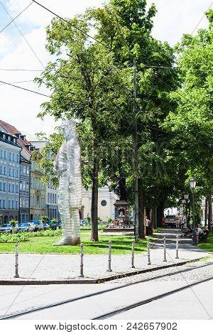 Munich, Germany - May 23, 2018: People And Aluminium Statue Of Maximilian Joseph Graf Von Montgelas