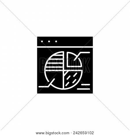 Pie Marketing Chart Black Icon Concept. Pie Marketing Chart Flat  Vector Website Sign, Symbol, Illus