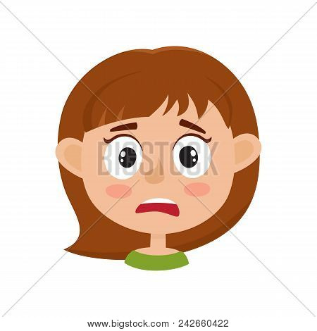 Little Girl Scared Face Expression, Cartoon Vector Illustrations Isolated On White Background. Kid E