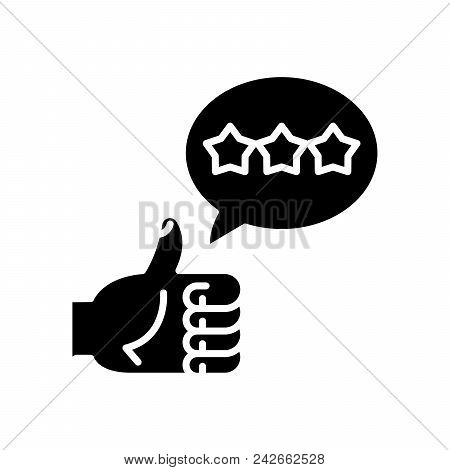 Positive Feedback Black Icon Concept. Positive Feedback Flat  Vector Website Sign, Symbol, Illustrat