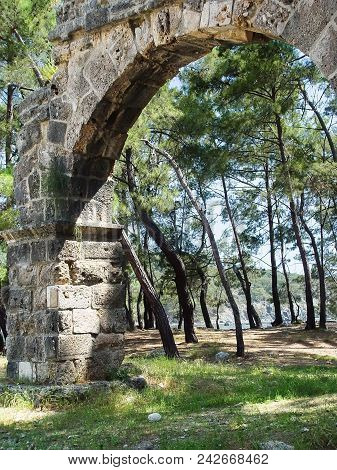 Arch Of The Roman Aqueduct In Ancient Phaselis. Turkey