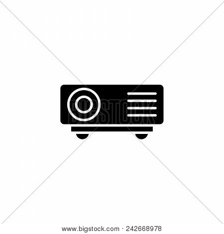 Projector Black Icon Concept. Projector Flat  Vector Website Sign, Symbol, Illustration.