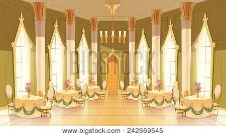 Vector Cartoon Illustration Of Castle Hall, Ballroom For Dancing, Royal Receptions, Dinners Or Banqu