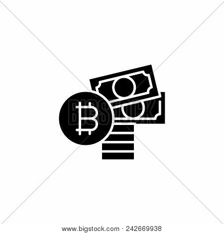 Purchase Of Bitcoin Black Icon Concept. Purchase Of Bitcoin Flat  Vector Website Sign, Symbol, Illus