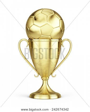 old soccer trophy cup isolated on a white background. 3d rendering