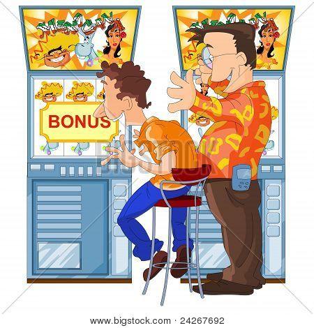 Happy men won in slot machine