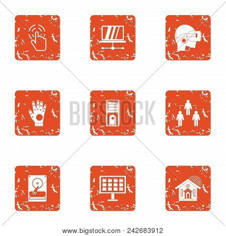 Virtual World Icons Set. Grunge Set Of 9 Virtual World Vector Icons For Web Isolated On White Backgr