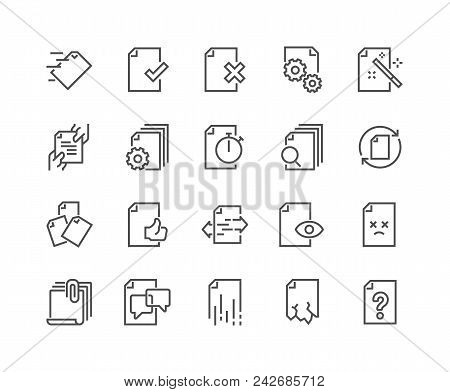 Simple Set Of Document Flow Management Vector Line Icons. Contains Such Icons As Bureaucracy, Batch