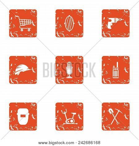 Prep Icons Set. Grunge Set Of 9 Prep Vector Icons For Web Isolated On White Background