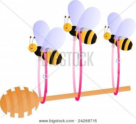 Bees carrying honey dipper