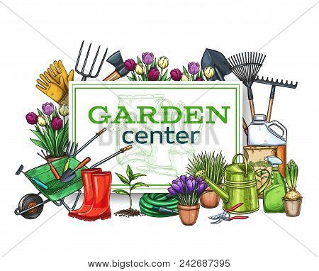 Vector Hand Drawn Gardening Poster With Tools, Flowers, Rubber Boots, Seedling, Tulips, Gardening Ca