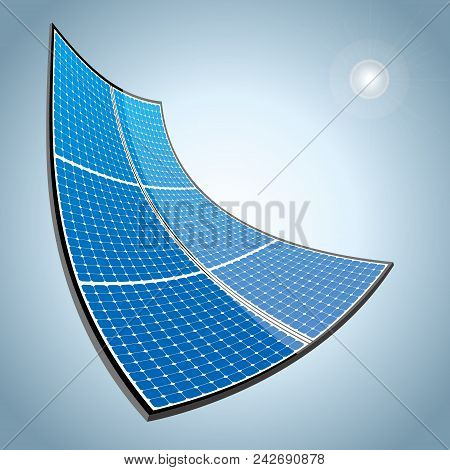 New Energy Concept Design.vector Drawn Solar Panels.background Is Gray.