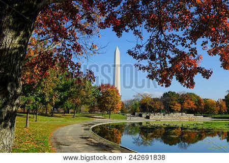 Washington DC - Washington Monument as seen from The Constitution Gardens in Autumn