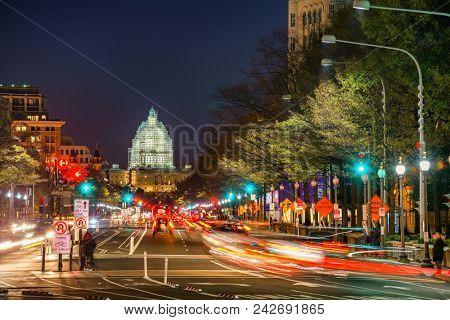 Pennsylvania Avenue and Capitol at night, Washington DC, USA