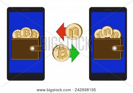 Exchange Between Bitcoin And Neo In The Phone On A White Background , Exchange Cryptocurrency In The